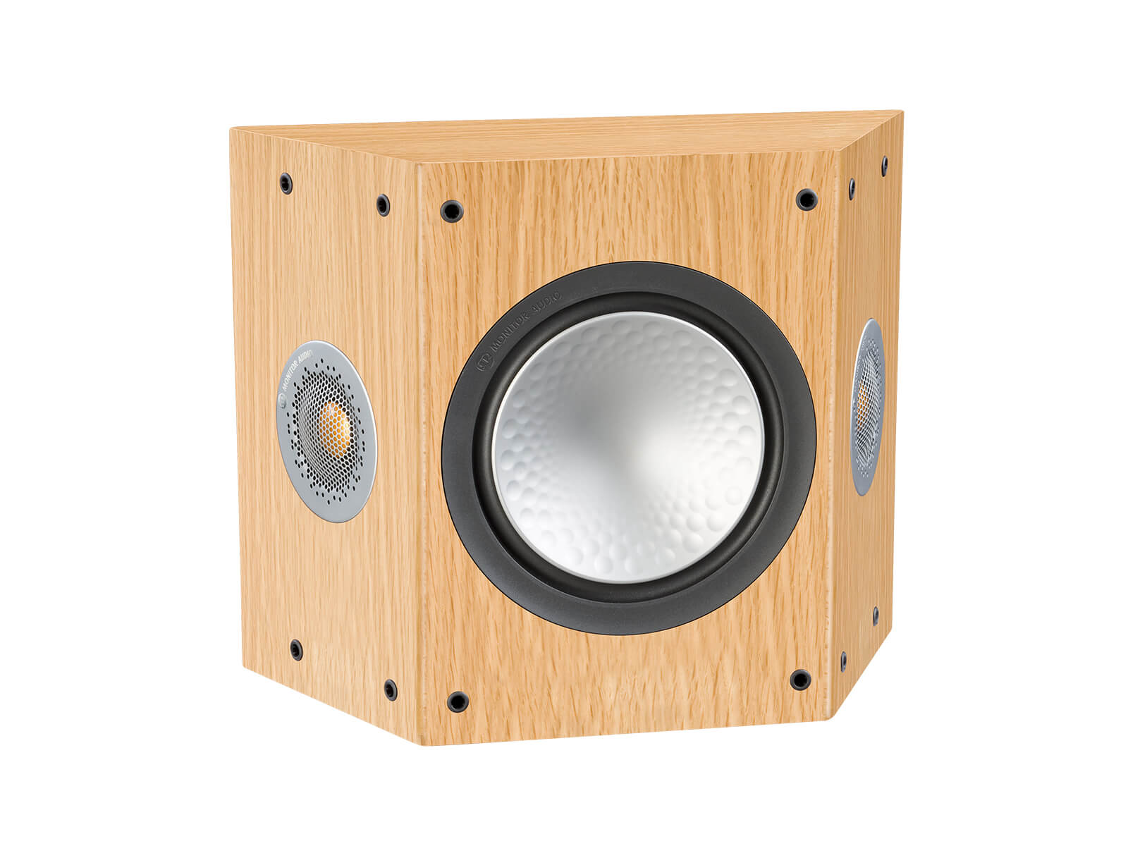 Silver FX, grille-less surround speakers, with a natural oak finish.