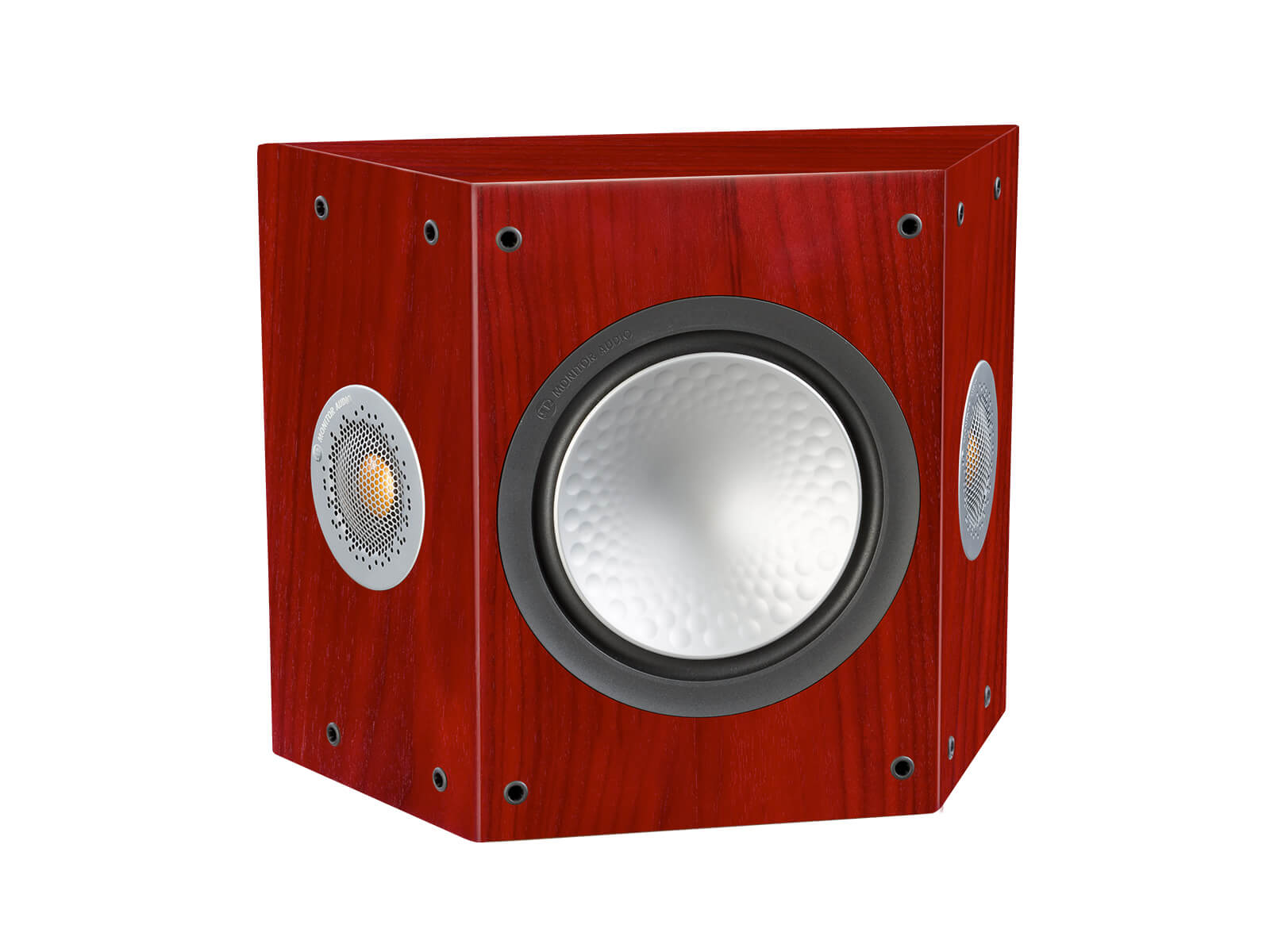 Silver FX, grille-less surround speakers, with a rosenut finish.