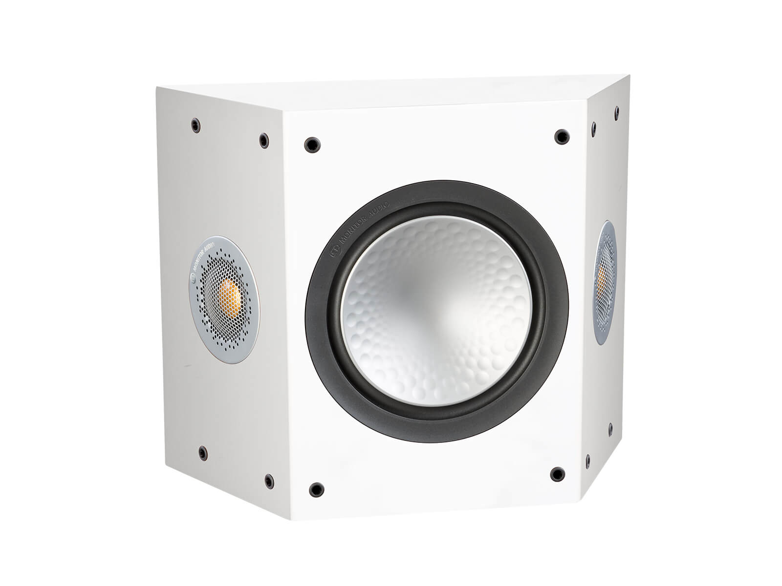 Silver FX, grille-less surround speakers, with a satin white finish.
