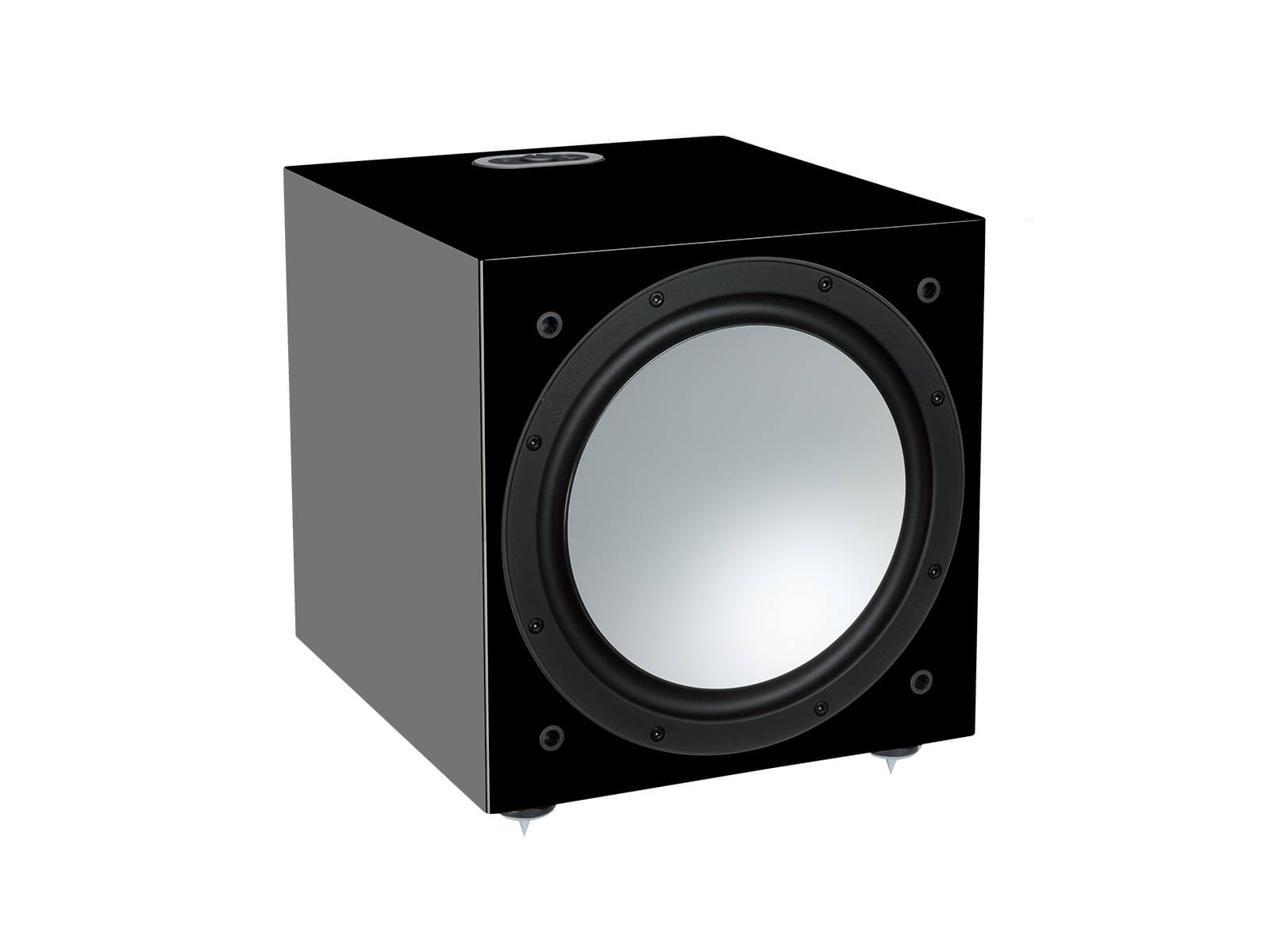 Silver W-12, grille-less subwoofer, with a high black gloss finish.