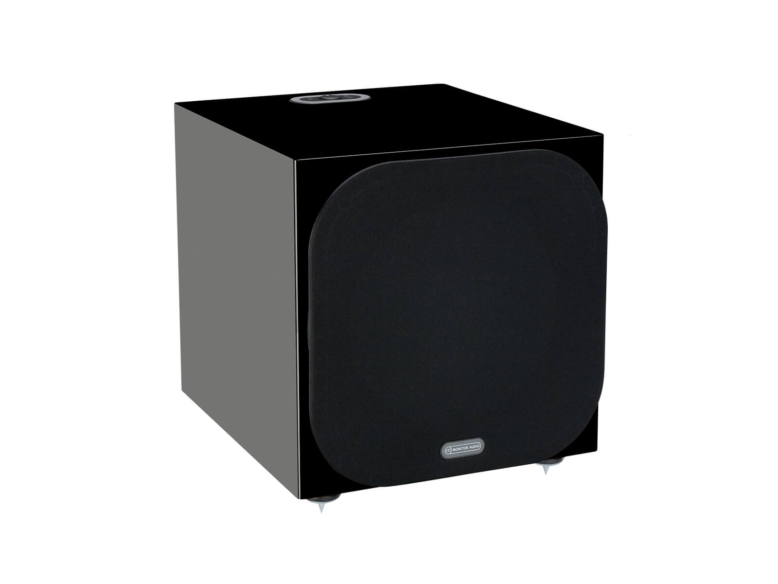 Silver W-12 subwoofer, featuring a grille and a high black gloss finish.