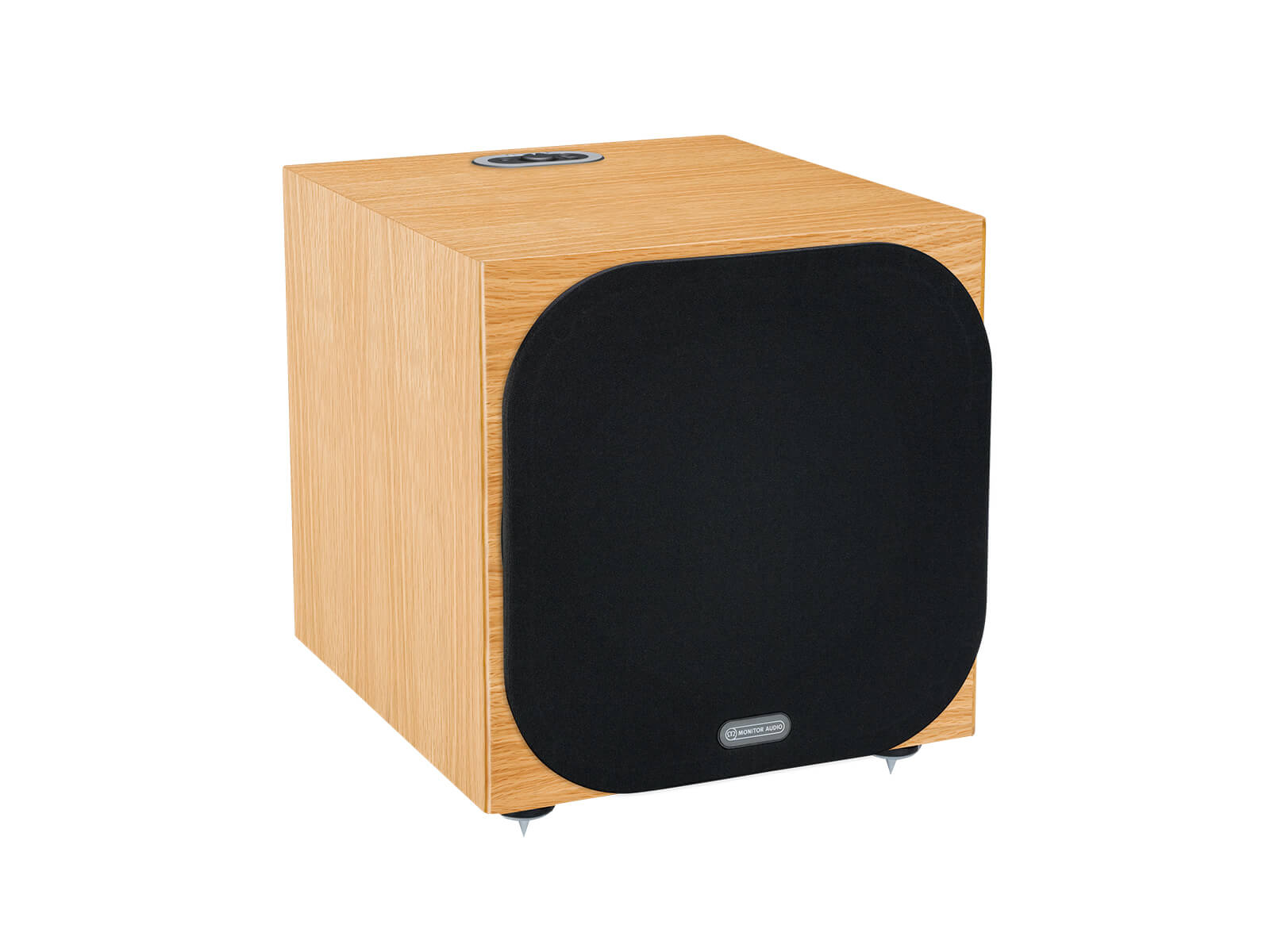 Silver W-12 subwoofer, featuring a grille and a natural oak finish.