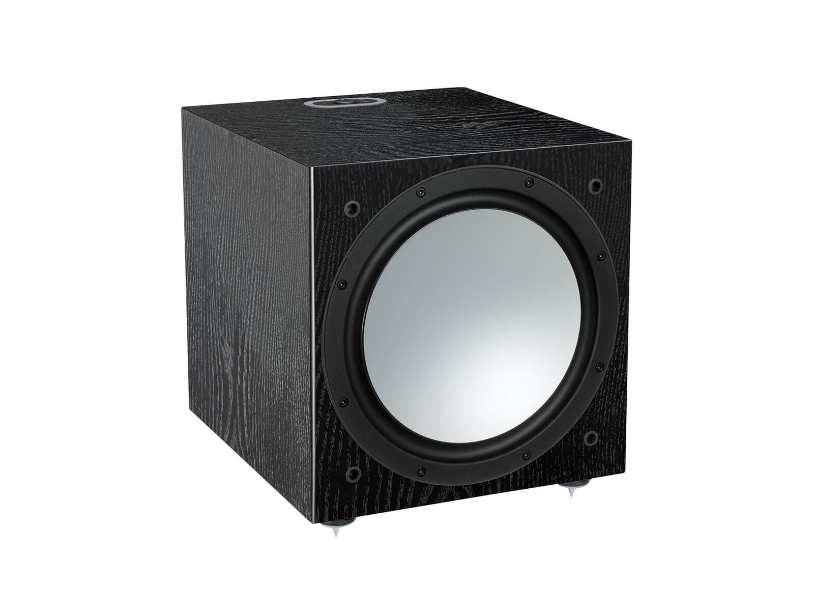 Silver W-12, grille-less subwoofer, with a black oak finish.