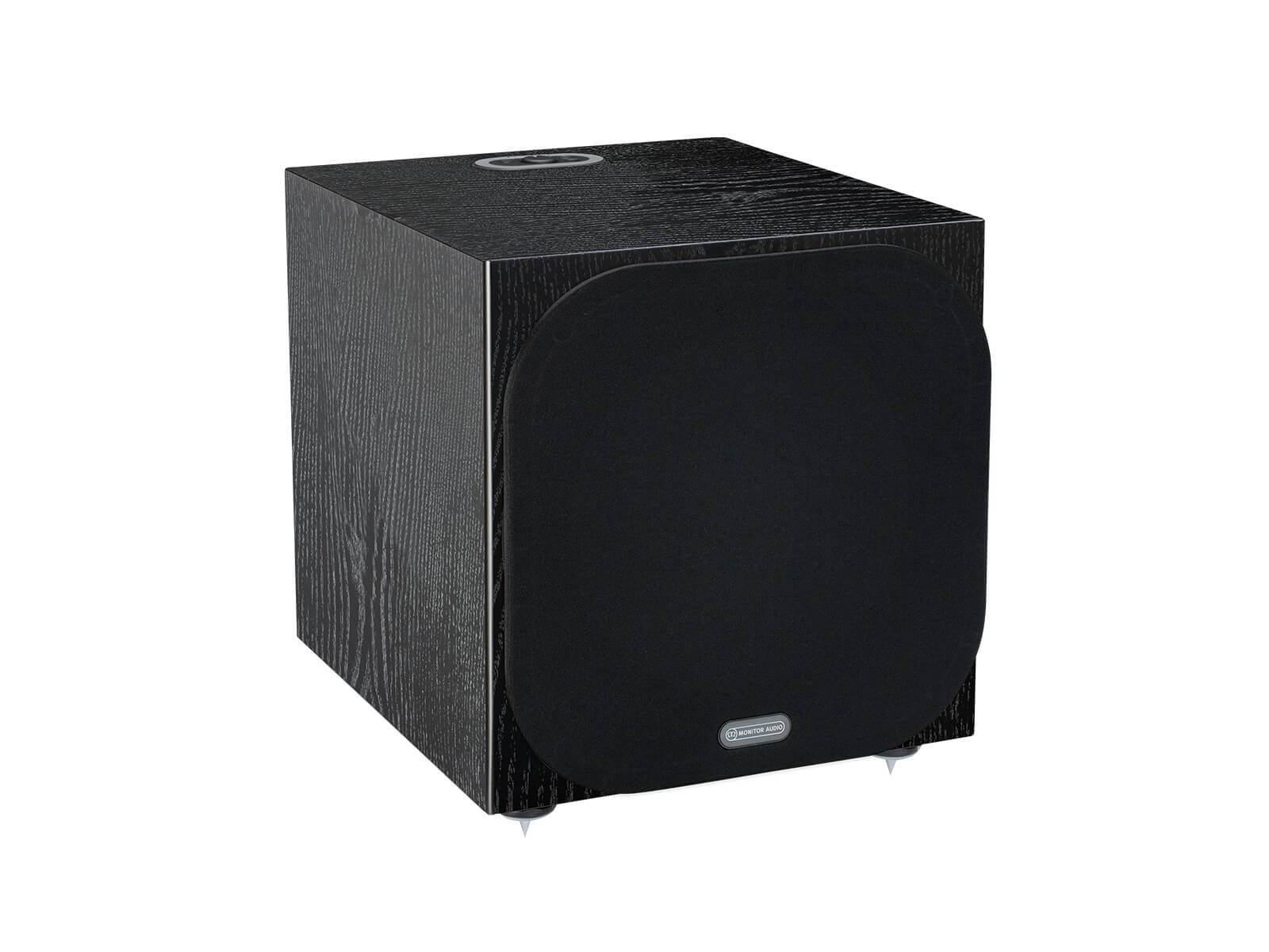Silver W-12 subwoofer, featuring a grille and a black oak finish.