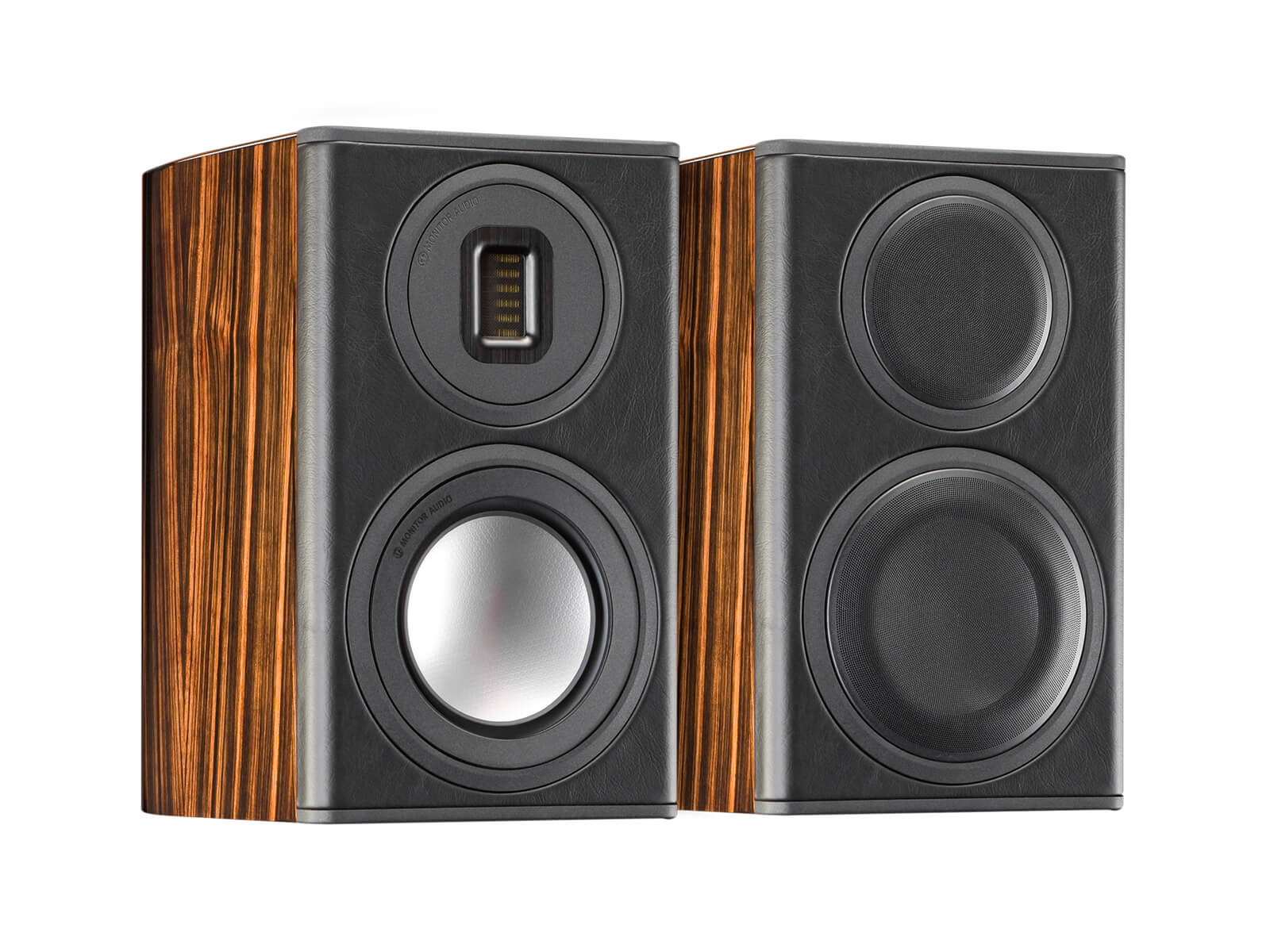 Platinum PL100 II, grille-less bookshelf speakers, with an ebony real wood veneer finish.