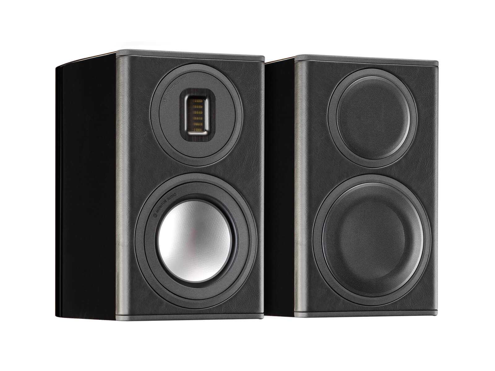 Platinum PL100 II, bookshelf speakers, featuring a grille and an ebony real wood veneer finish.