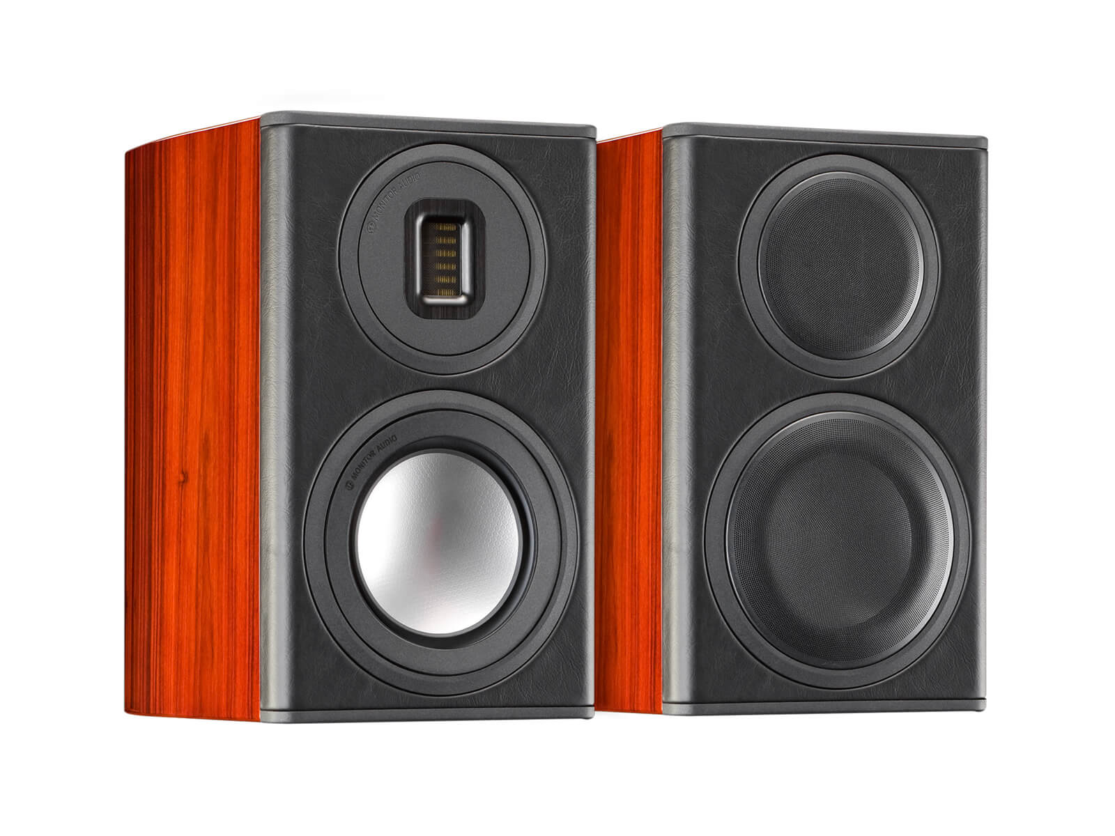 Platinum PL100 II, grille-less bookshelf speakers, with a piano black lacquer finish.