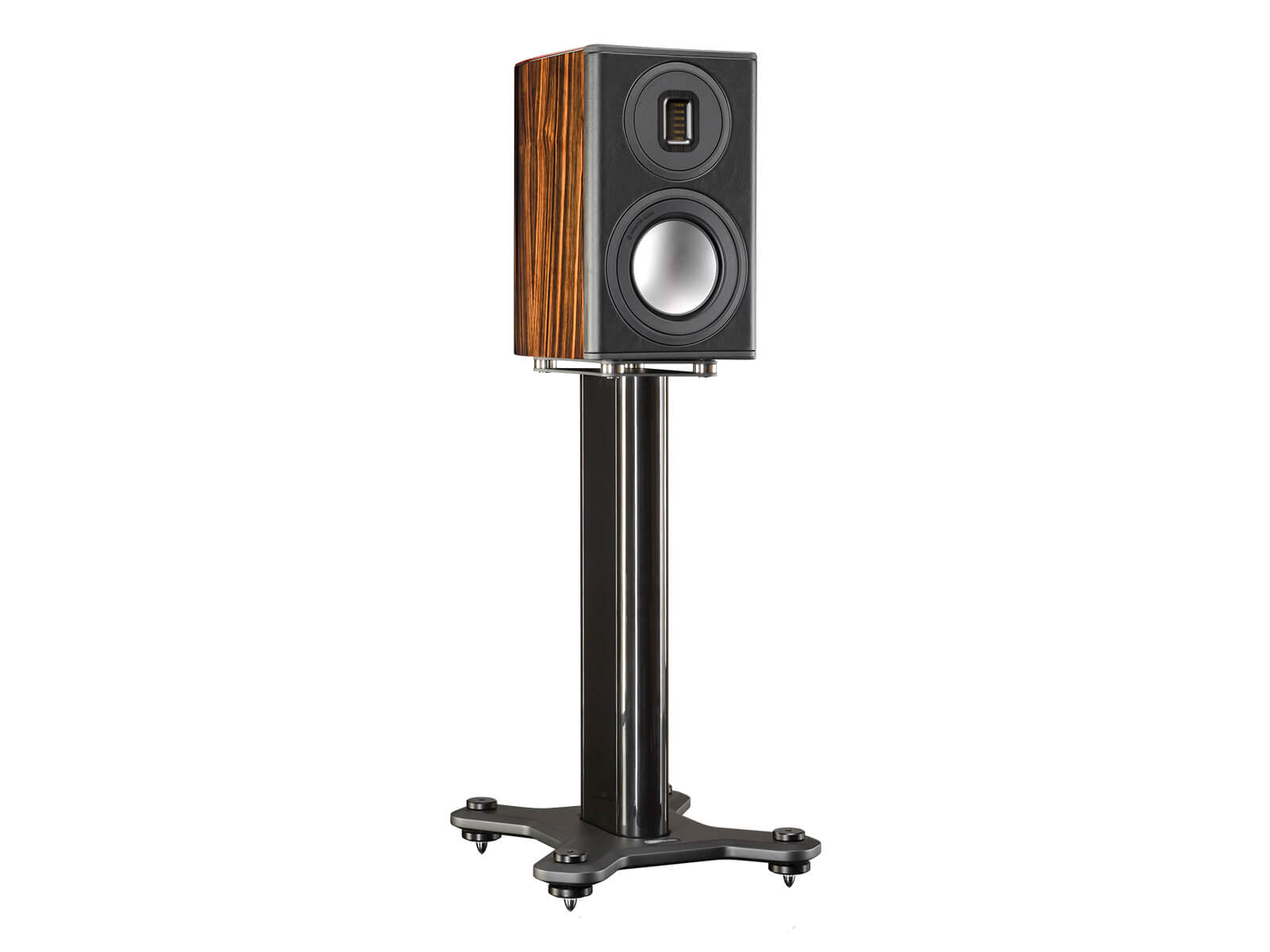 Platinum PL100 II, bookshelf speakers, featuring a grille and a piano black lacquer finish.