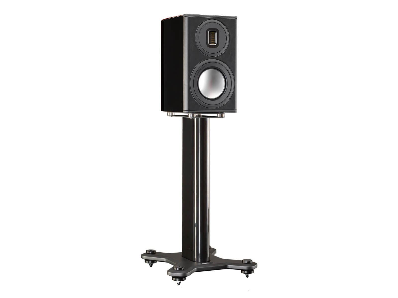 Platinum PL100 II, grille-less bookshelf speakers, with a santos rosewood real wood veneer finish.