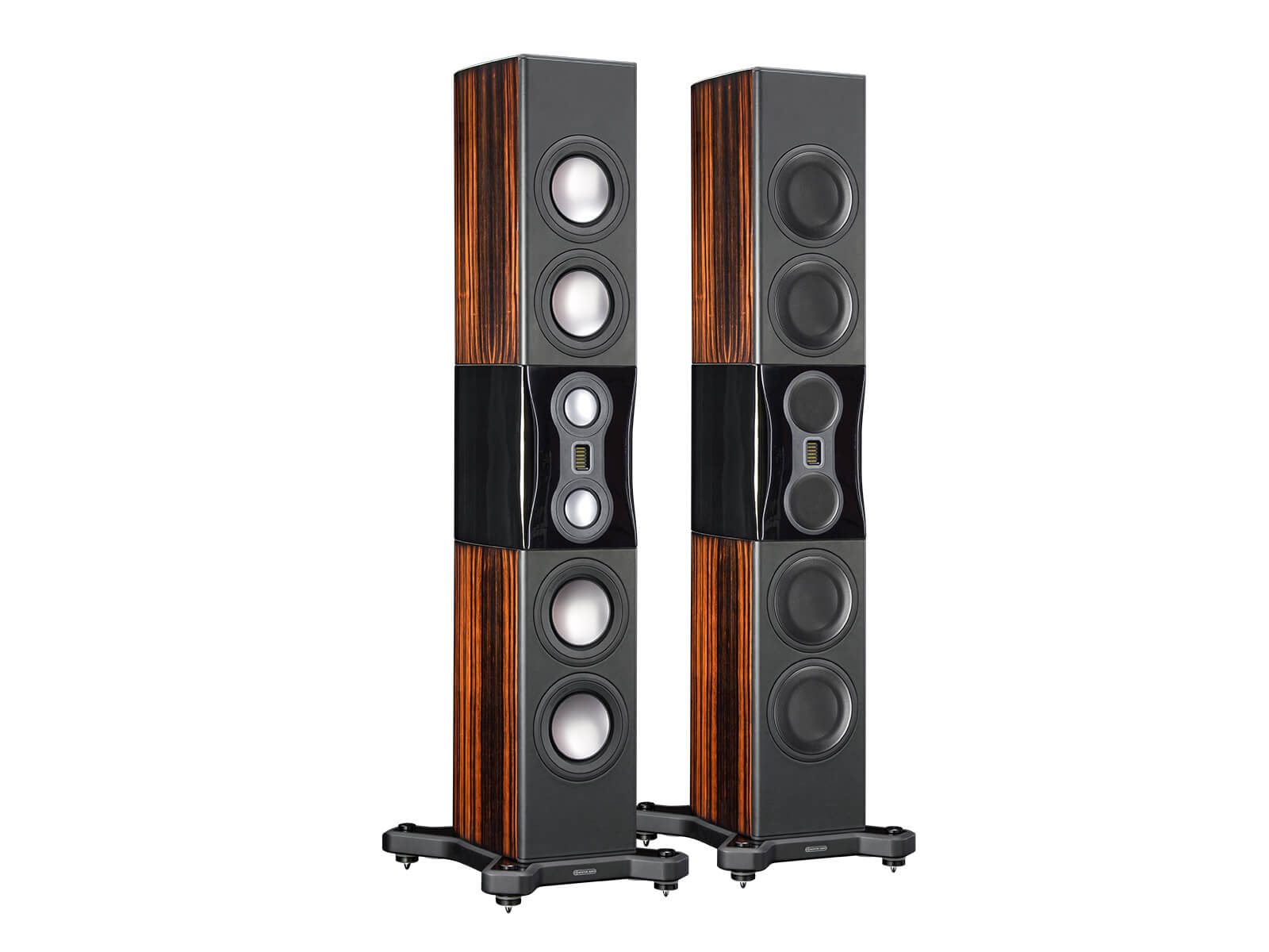 Platinum PL500 II, grille-less floorstanding speakers, with a santos rosewood real wood veneer finish.