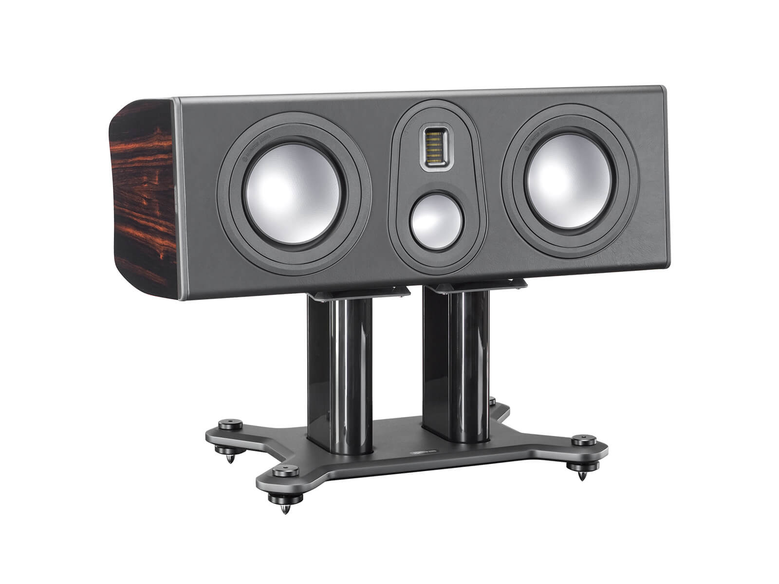 Platinum PLC350 II, grille-less centre channel speakers, with a piano black lacquer finish.
