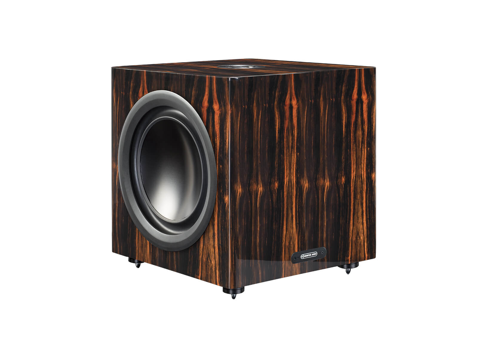 Platinum PLW215 II, subwoofer, with a santos rosewood real wood veneer finish.