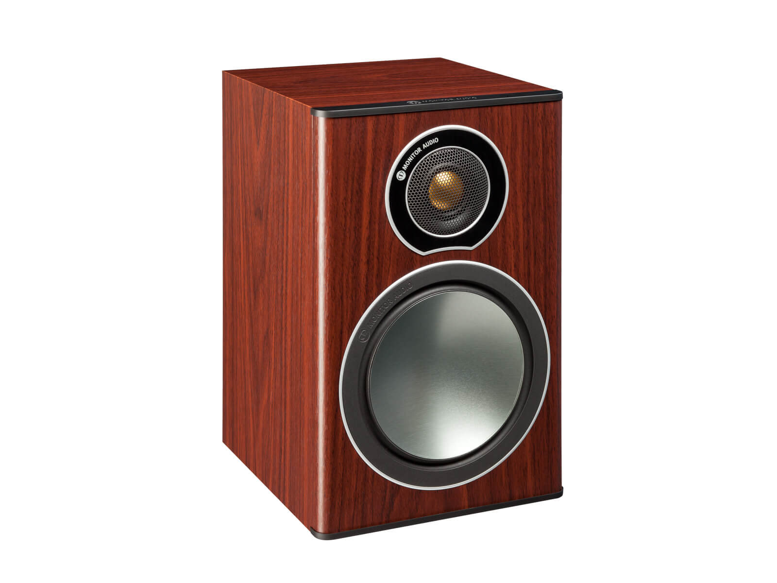 Bronze 1, grille-less bookshelf speakers, with a rosemah vinyl finish.