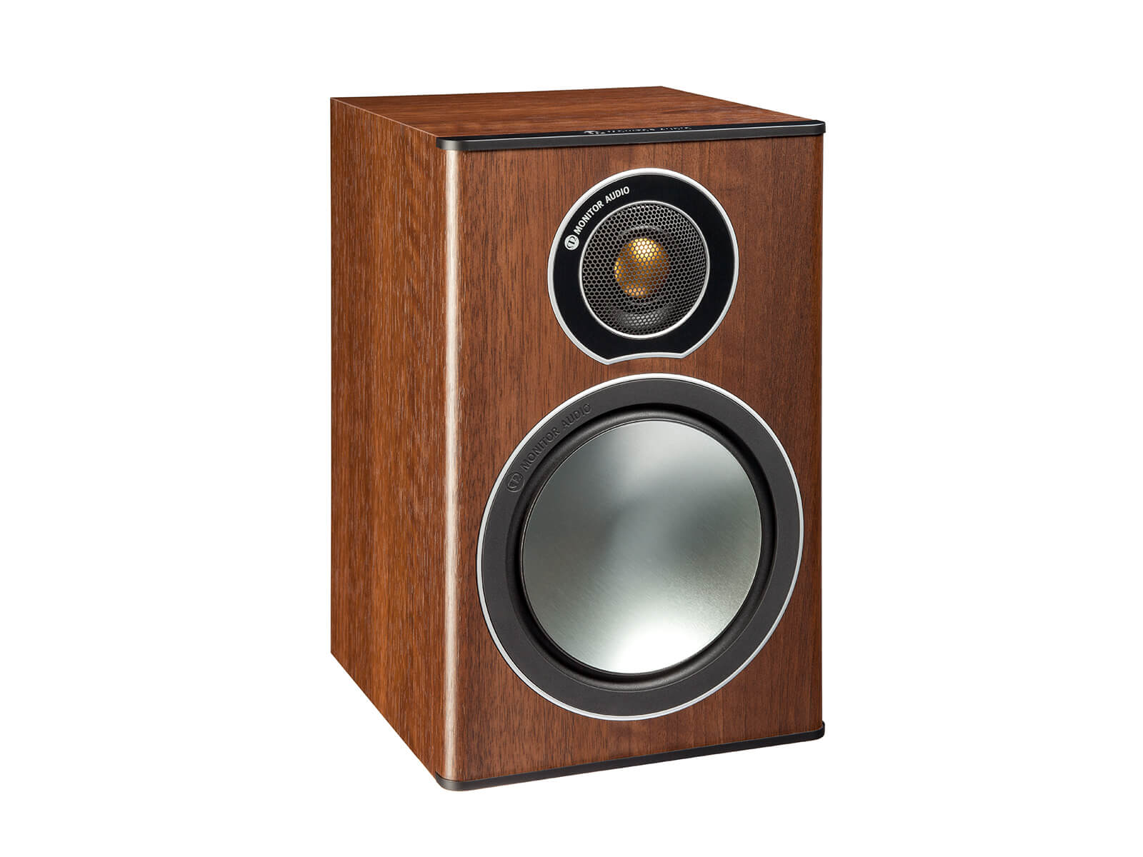 Bronze 1, grille-less bookshelf speakers, with a walnut vinyl finish.