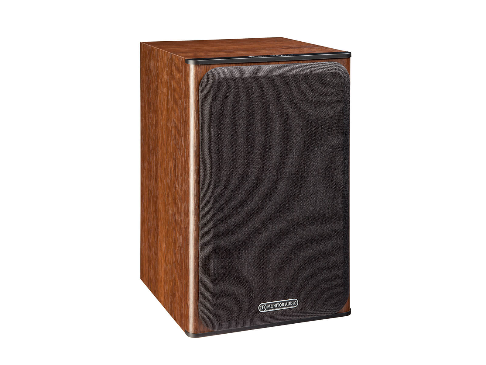 Bronze 1, bookshelf speakers, featuring a grille and a walnut vinyl finish.