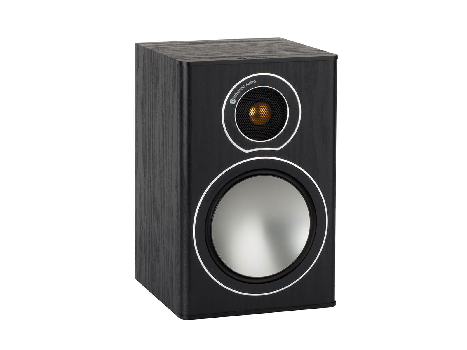 Bronze 1, grille-less bookshelf speakers, with a black oak vinyl finish.
