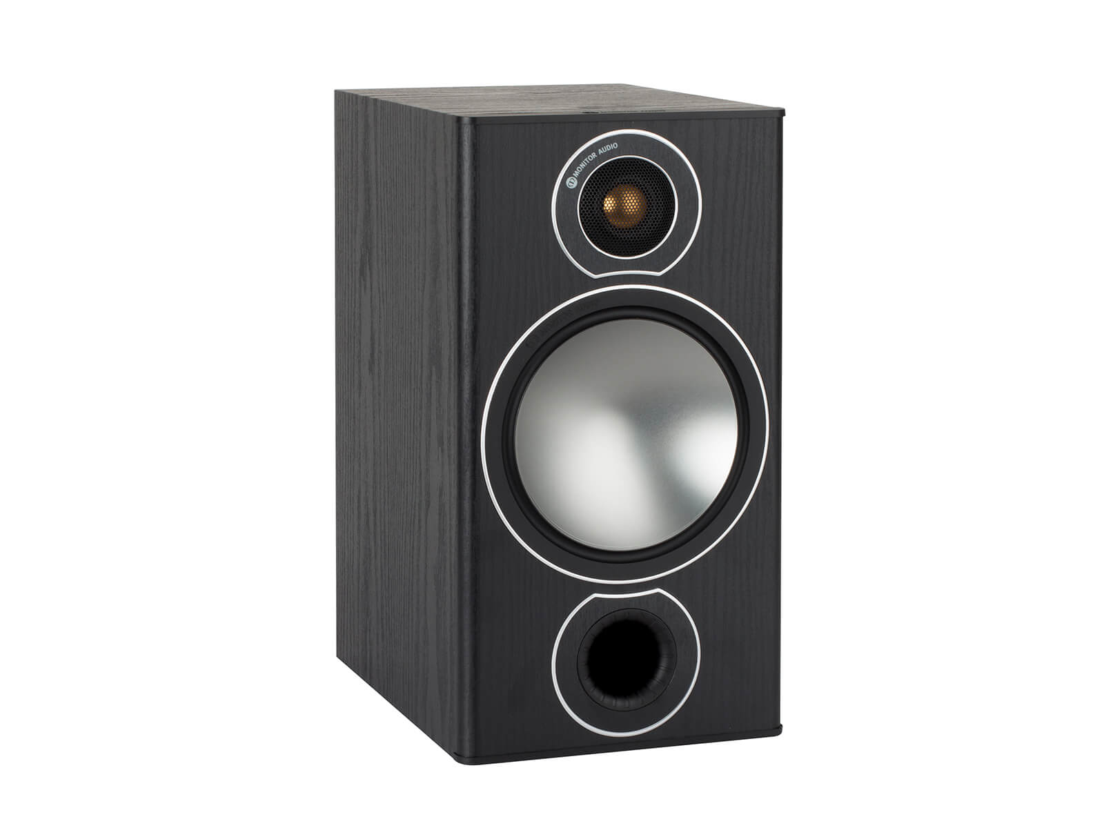 Bronze 2, grille-less bookshelf speakers, with a black oak vinyl finish.
