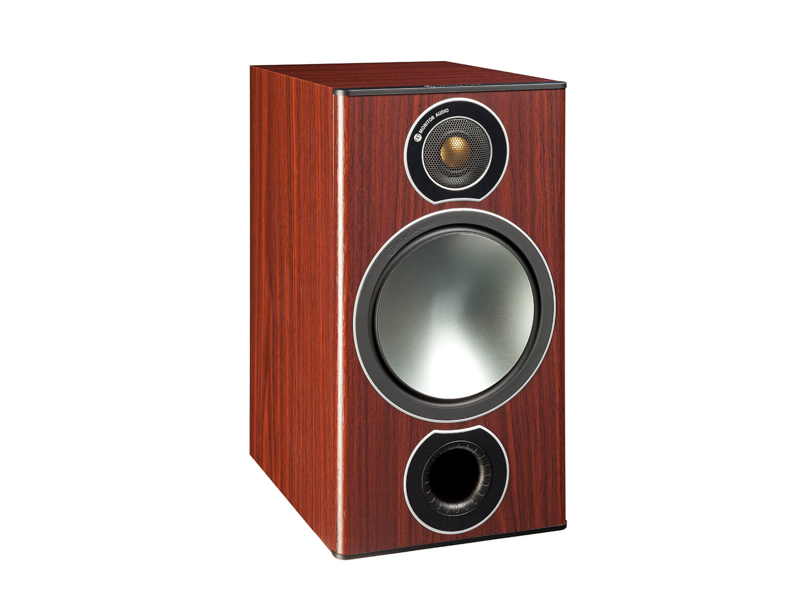 Bronze 2, grille-less bookshelf speakers, with a rosemah vinyl finish.