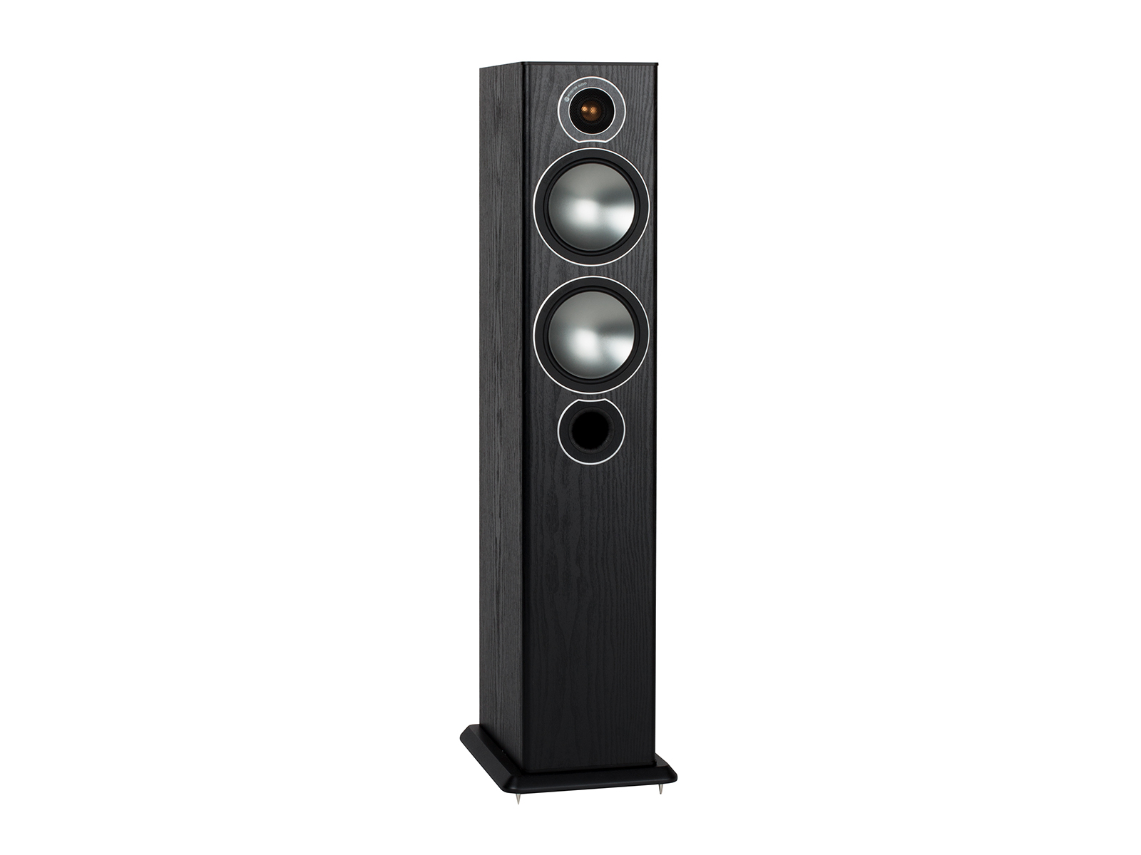 Bronze 5, grille-less floorstanding speakers, with a black oak vinyl finish.