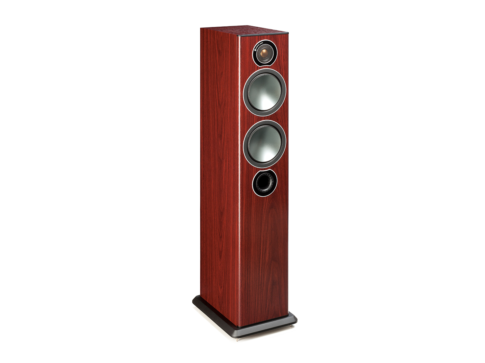 Bronze 5, grille-less floorstanding speakers, with a rosemah vinyl finish.