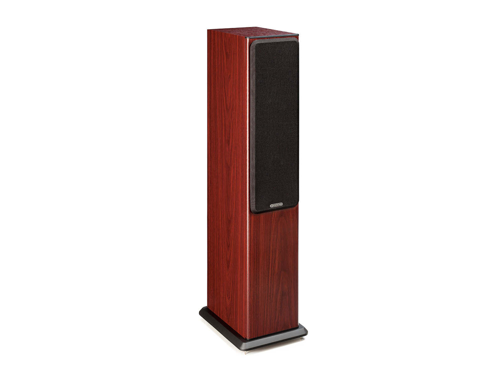 Bronze 5, floorstanding speakers, featuring a grille and a rosemah vinyl finish.