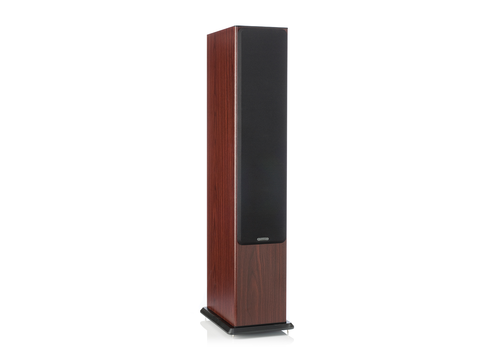 Bronze 6, floorstanding speakers, featuring a grille and a walnut vinyl finish.