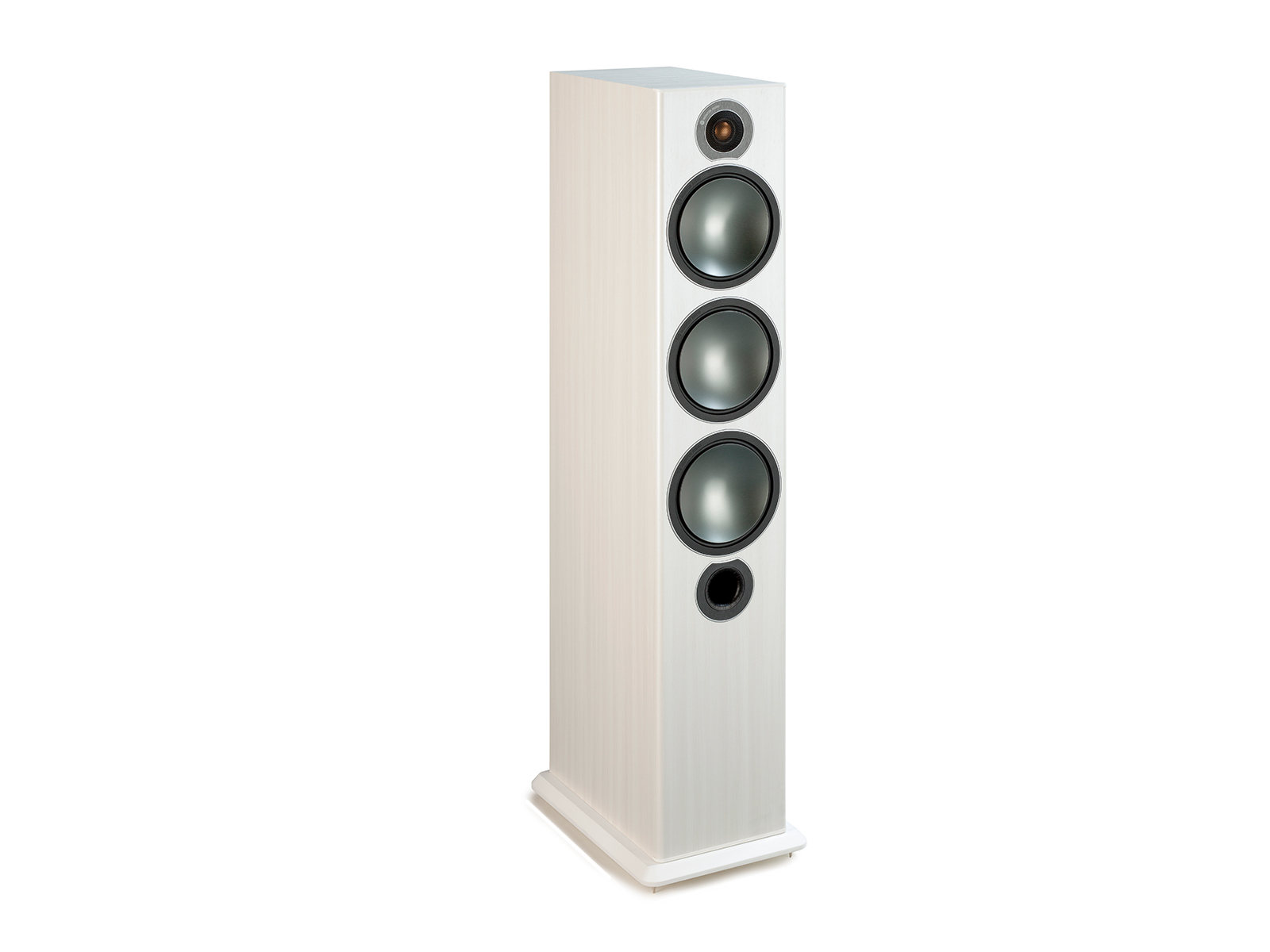 Bronze 6, grille-less floorstanding speakers, with a white ash vinyl finish.