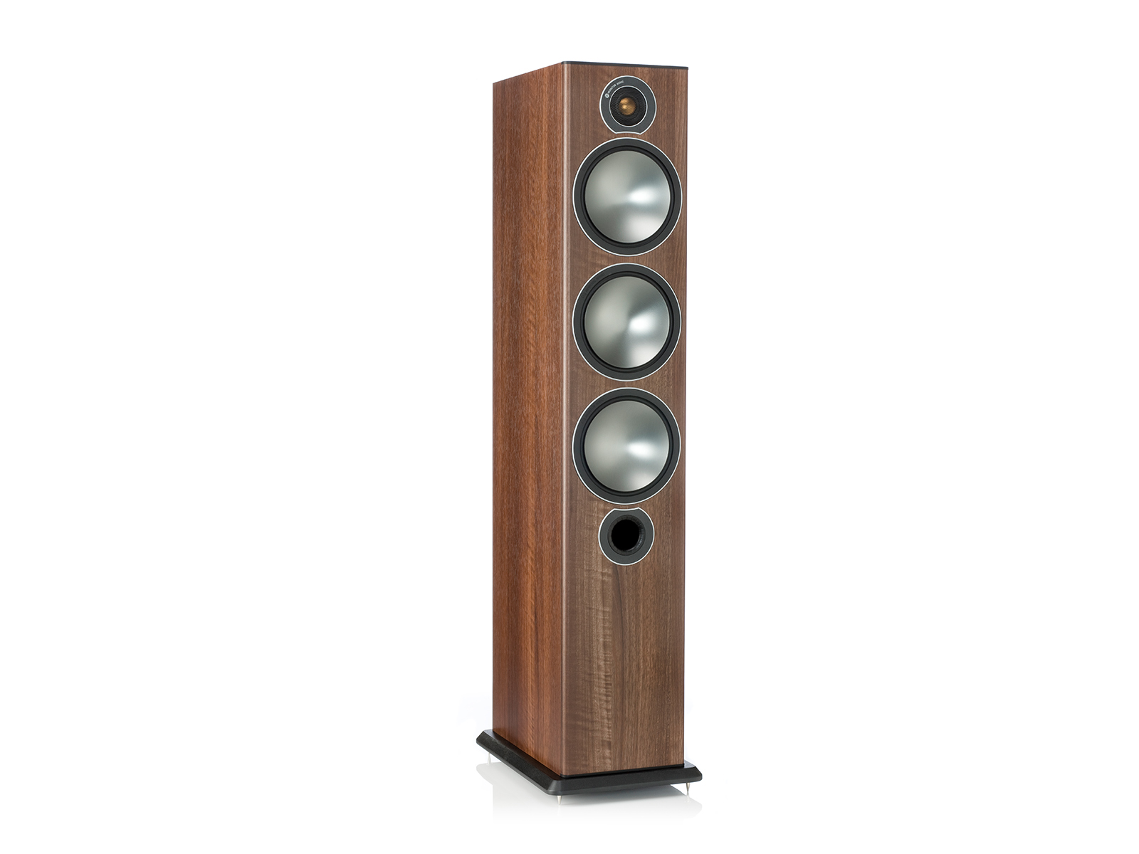 Bronze 6, grille-less floorstanding speakers, with a walnut vinyl finish.