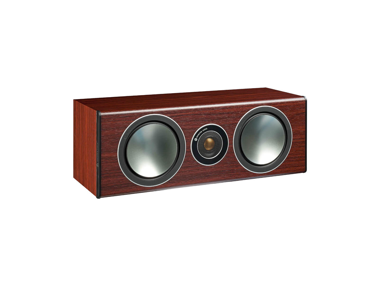 Bronze Centre, grille-less centre channel speakers, with a rosemah vinyl finish.