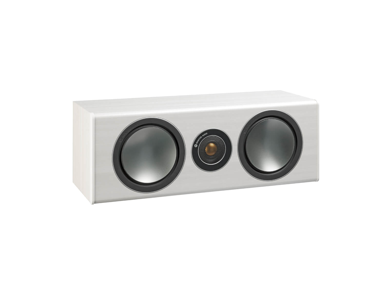 Bronze Centre, grille-less centre channel speakers, with a white ash vinyl finish.