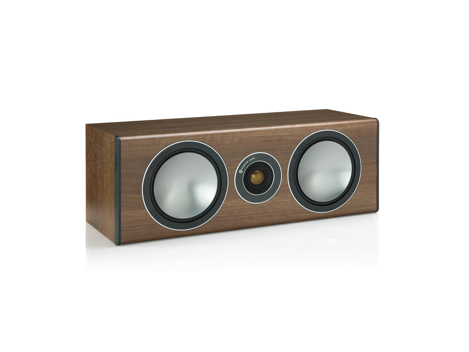 Bronze Centre, grille-less centre channel speakers, with a walnut vinyl finish.