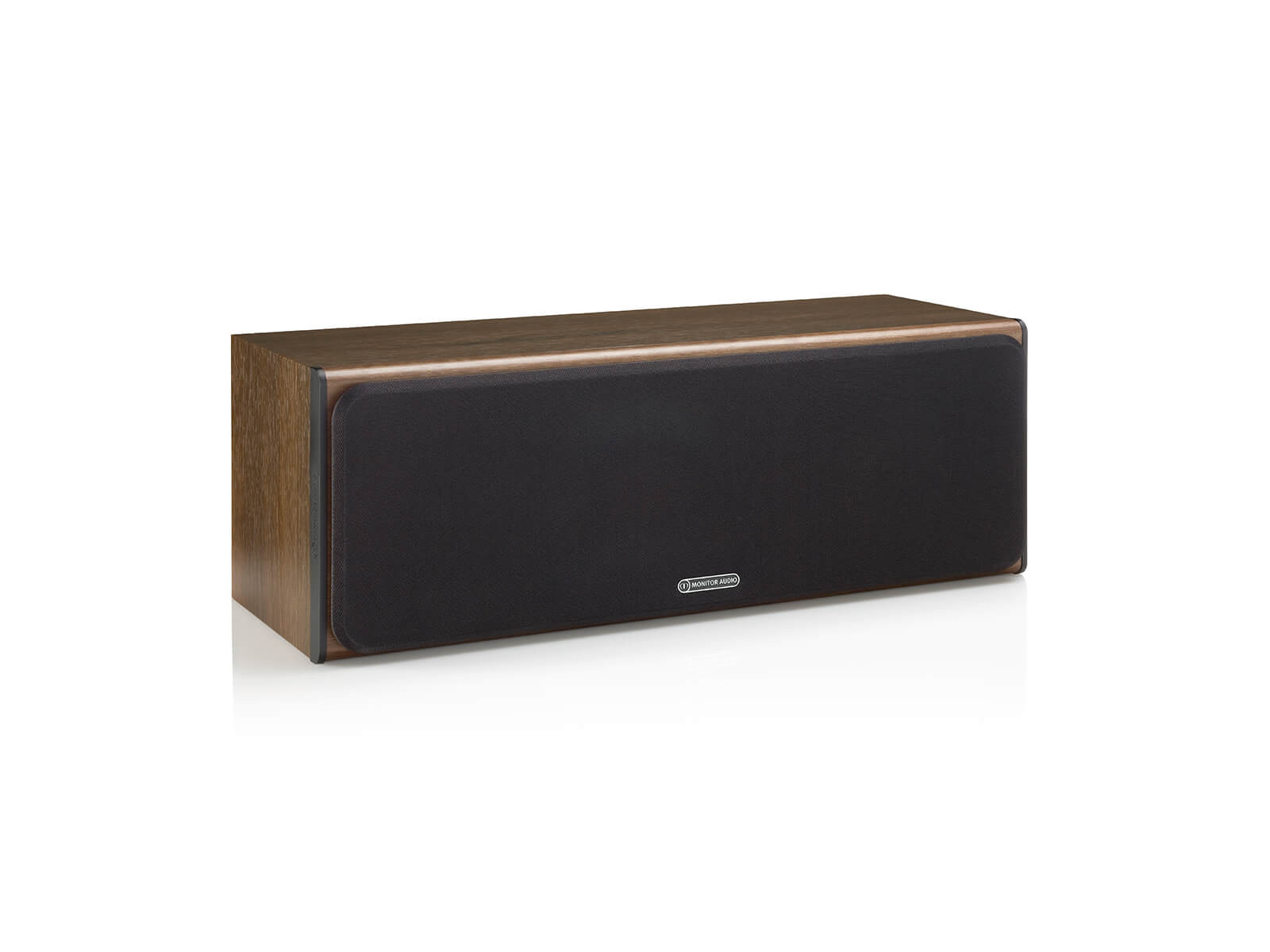 Bronze Centre, centre channel speakers, featuring a grille and a walnut vinyl finish.