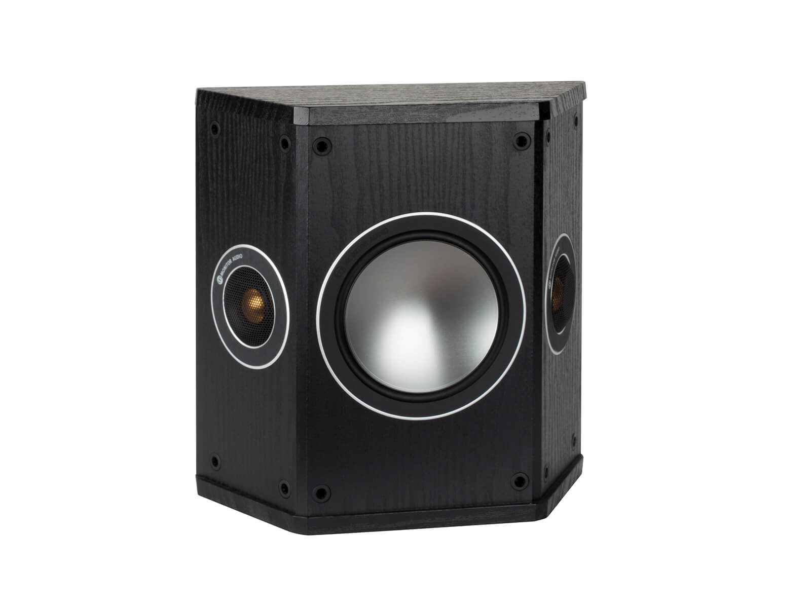 Bronze FX, grille-less surround speakers, with a black oak vinyl finish.