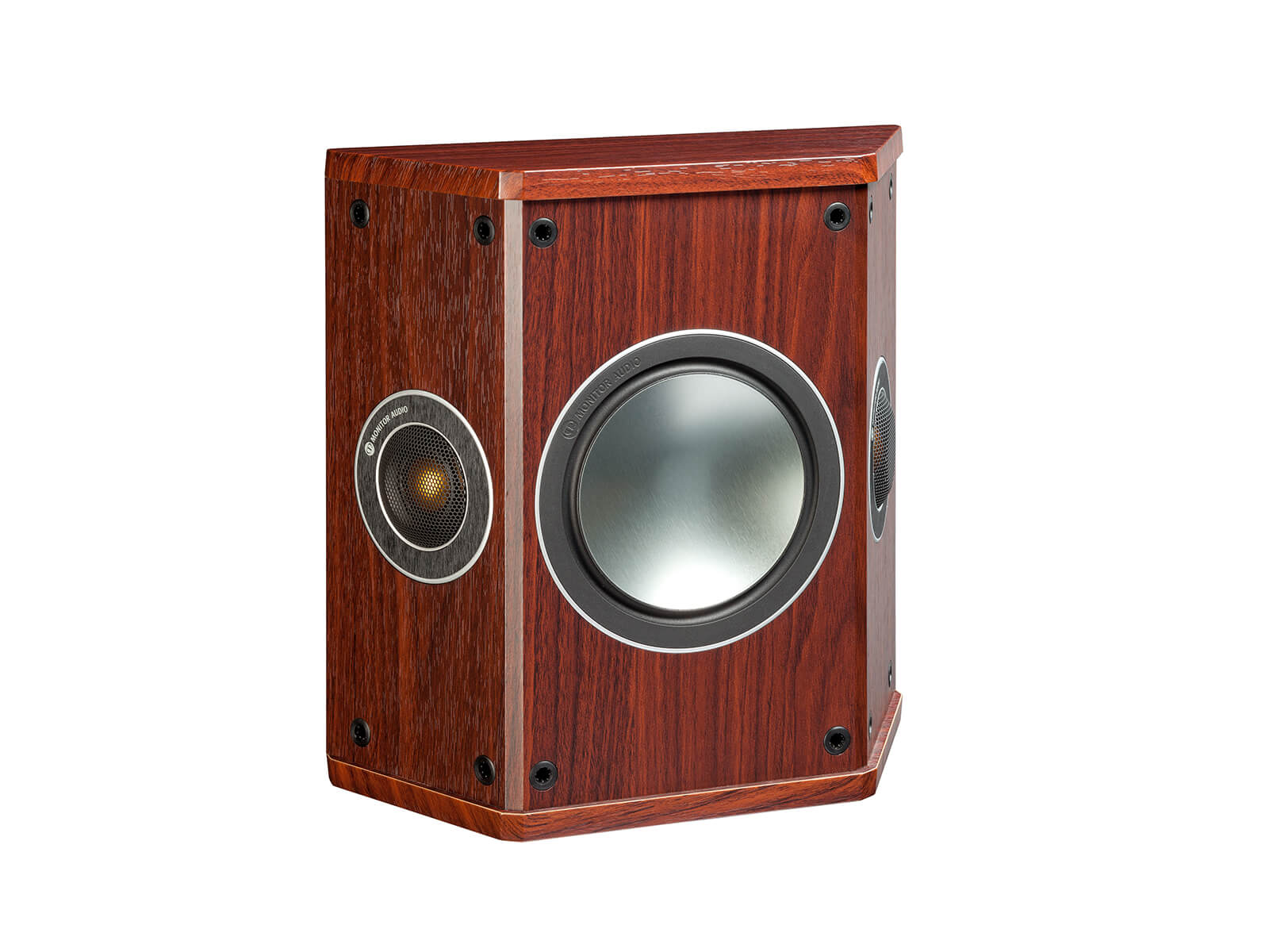 Bronze FX, grille-less surround speakers, with a rosemah vinyl finish.