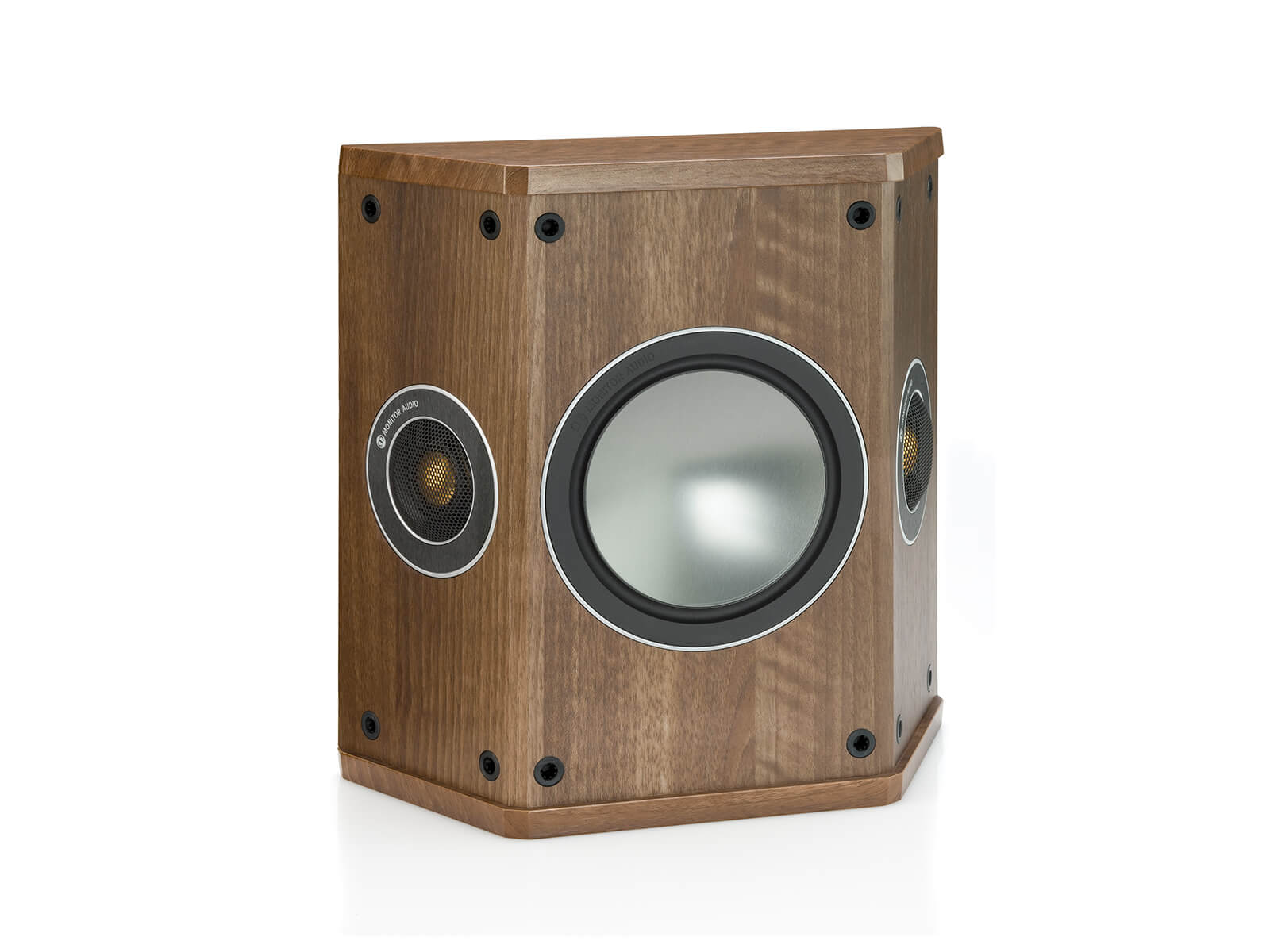 Bronze FX, grille-less surround speakers, with a walnut vinyl finish.