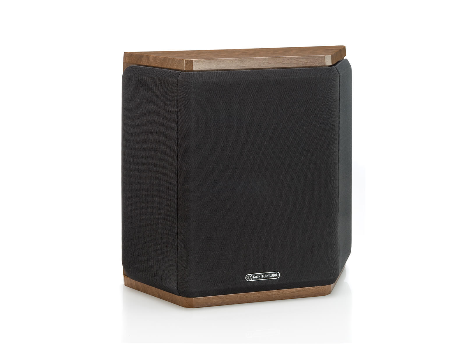 Bronze FX, surround speakers, featuring a grille and a walnut vinyl finish.