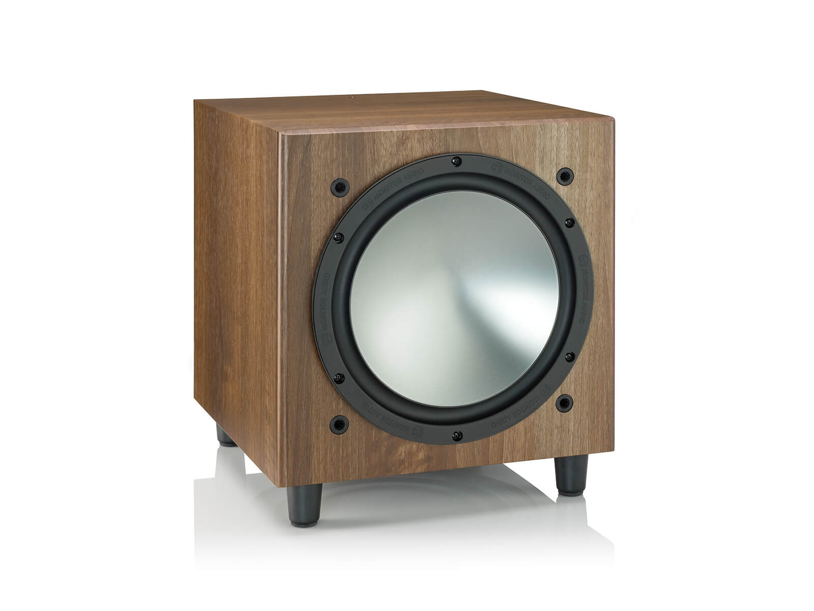 Bronze W10, grille-less subwoofer, with a walnut vinyl finish.