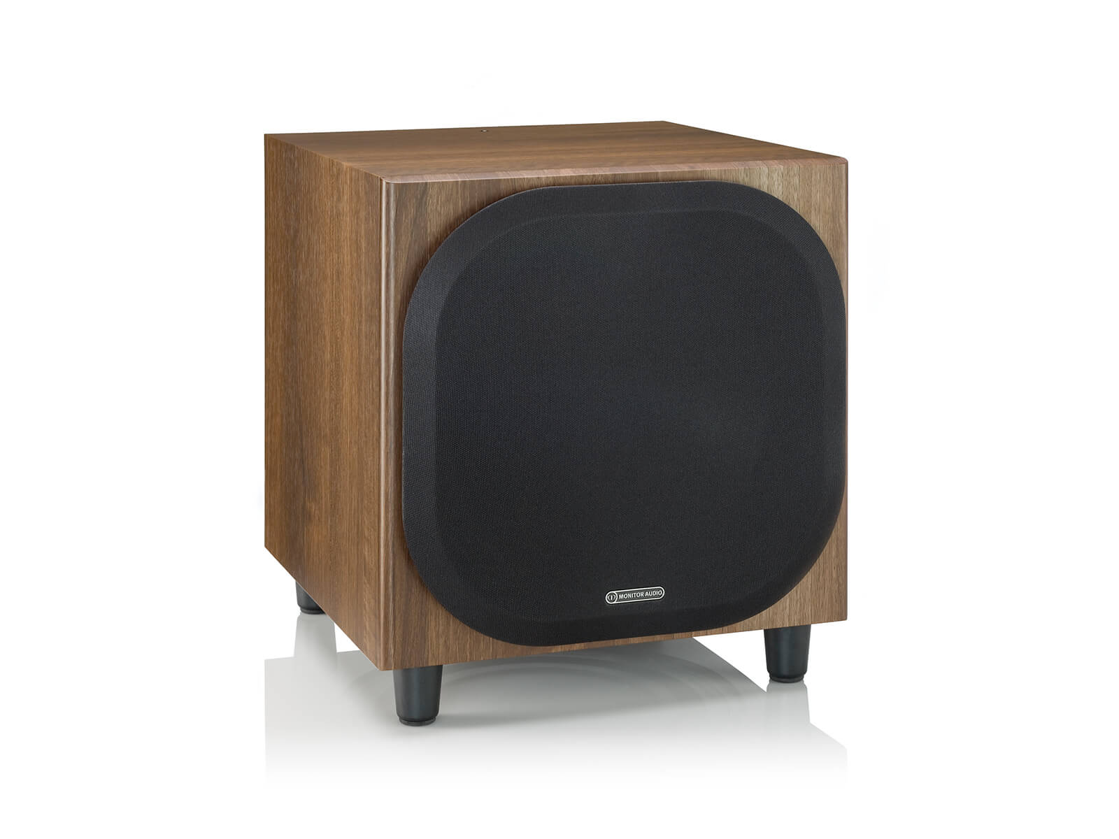 Bronze W10 subwoofer, featuring a grille and a walnut vinyl finish.