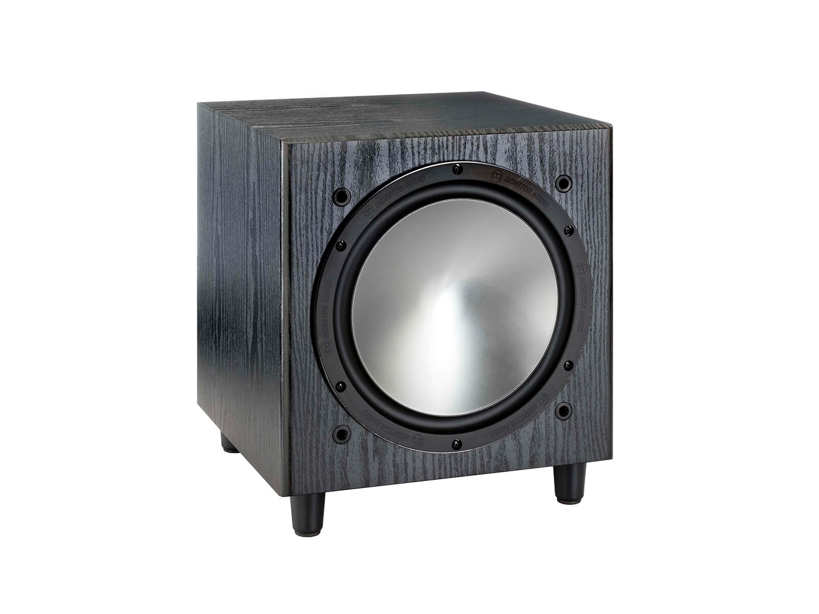 Bronze W10, grille-less subwoofer, with a black oak vinyl finish.