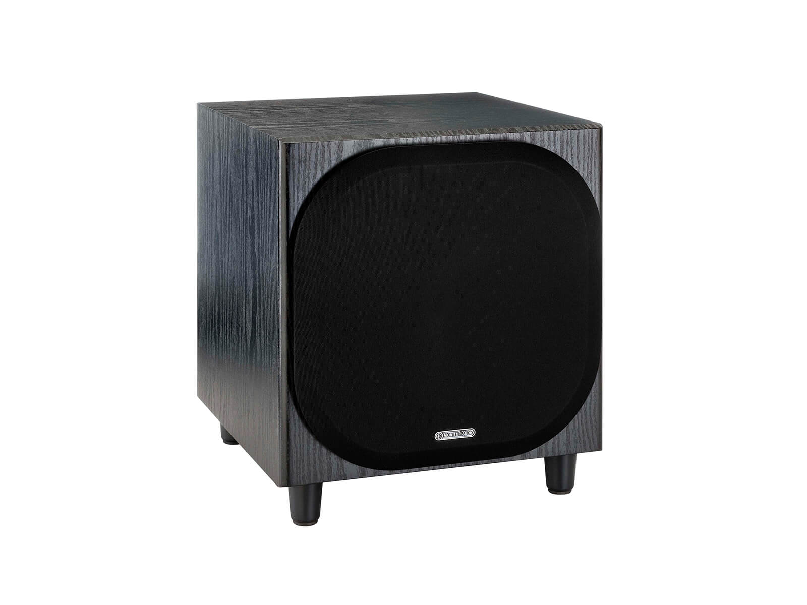 Bronze W10 subwoofer, featuring a grille and a black oak vinyl finish.