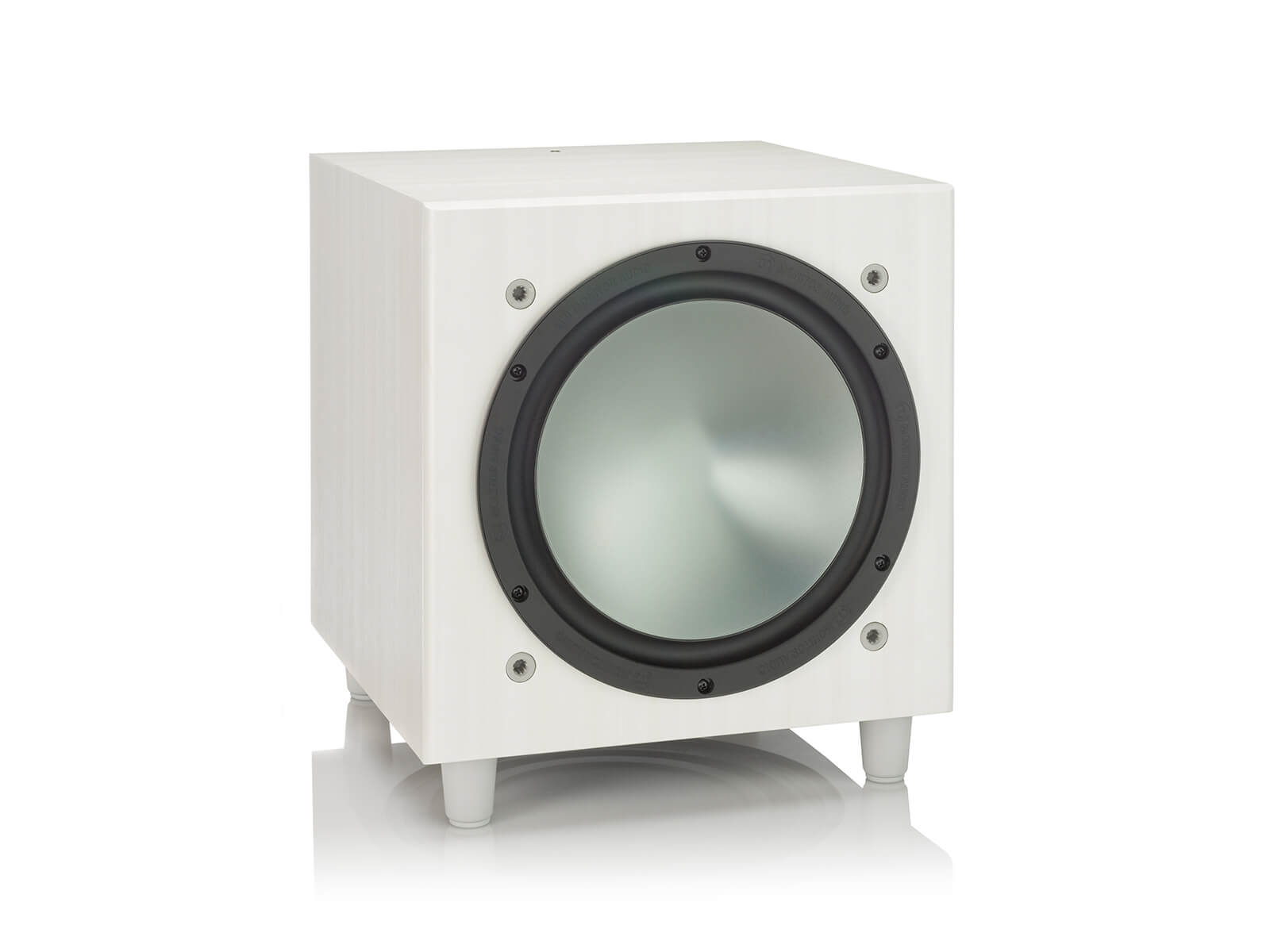 Bronze W10, grille-less subwoofer, with a white ash vinyl finish.