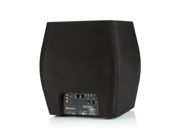Mass WS200 subwoofer, rear, with a black cloth grille.