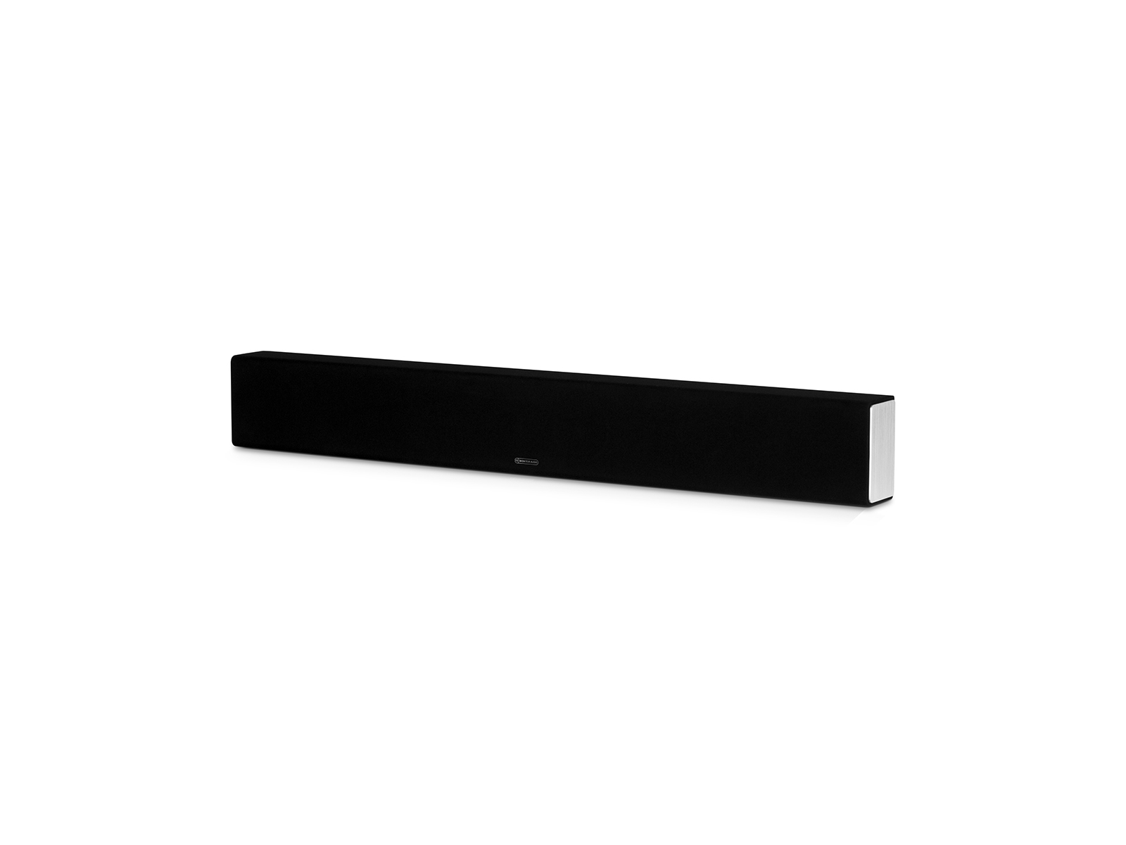 SB-2, passive soundbar speaker, side view, with a black cloth grille.