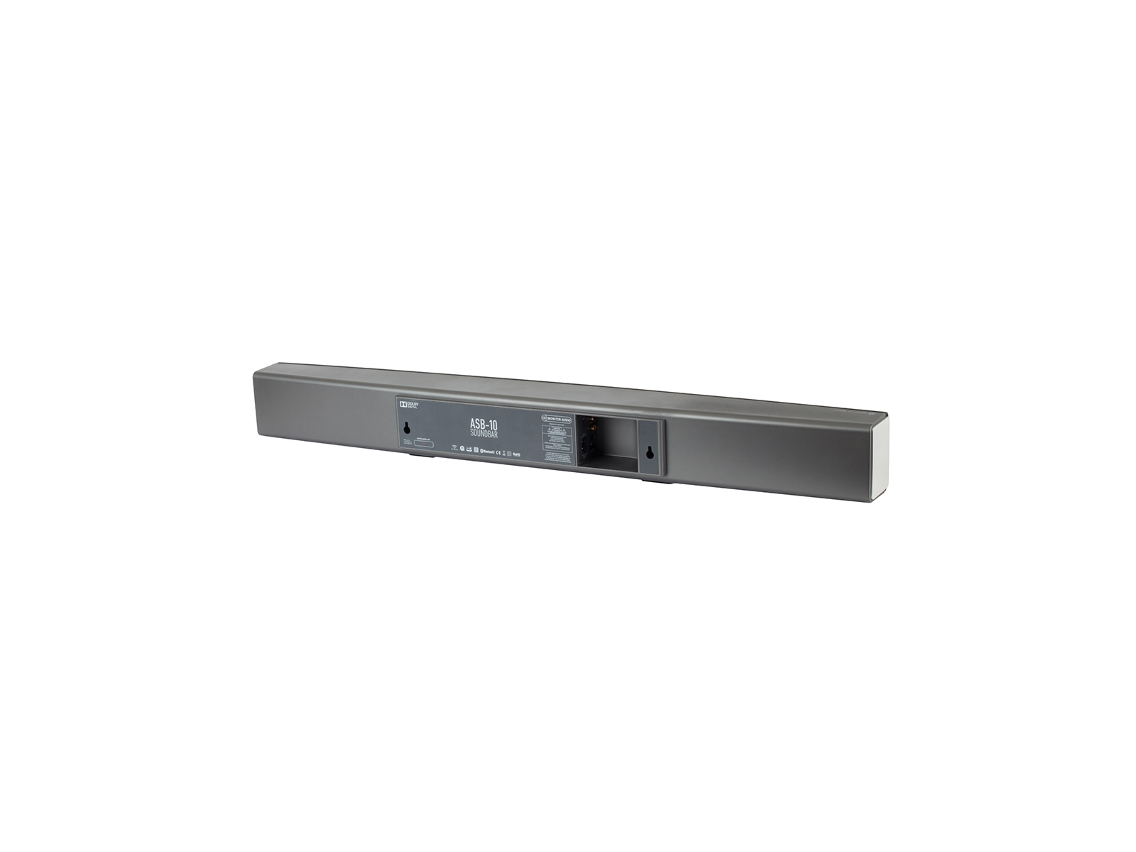 ASB-10, active soundbar speaker, iso rear, with a black cloth grille.