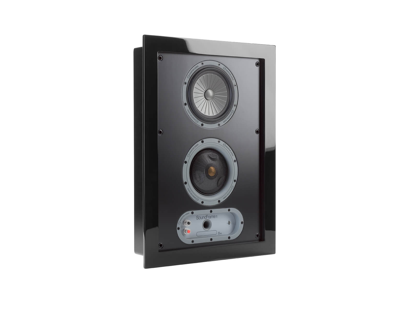 SoundFrame SF1, on-wall speakers, grille-less, with a high gloss black lacquer finish.