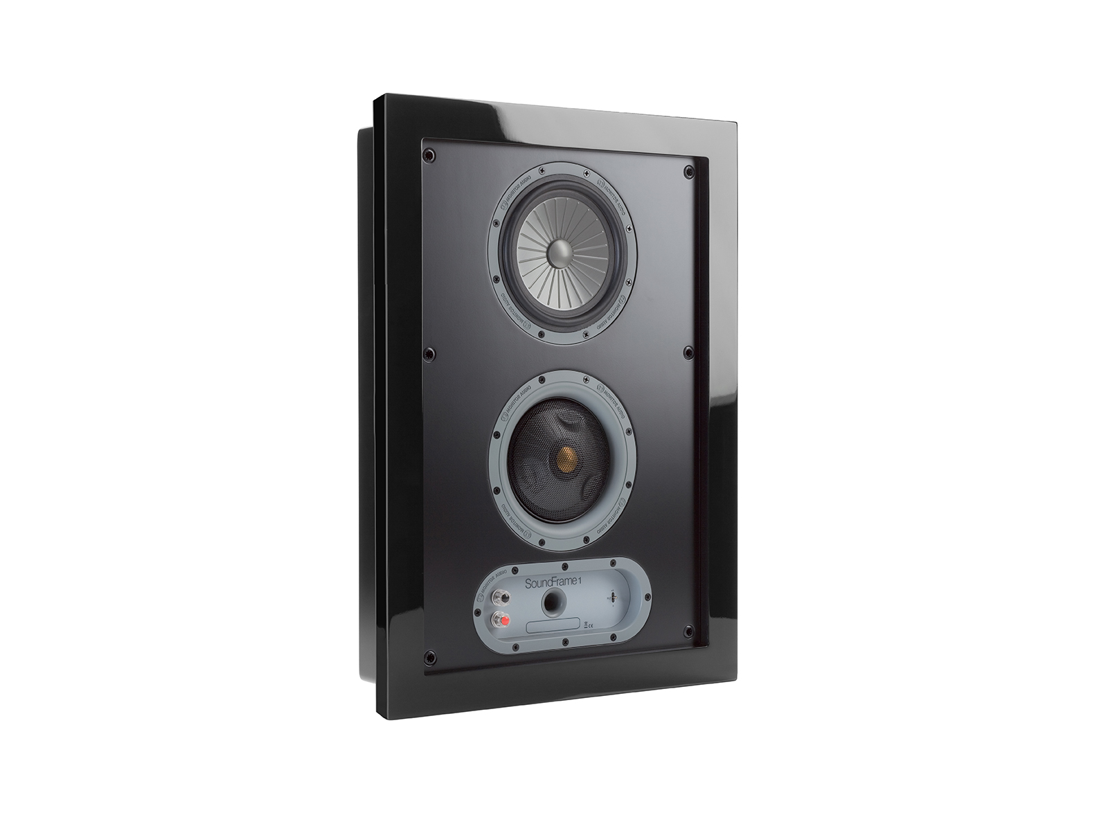 SoundFrame SF1, in-wall speakers, grille-less, with a high gloss black lacquer finish.