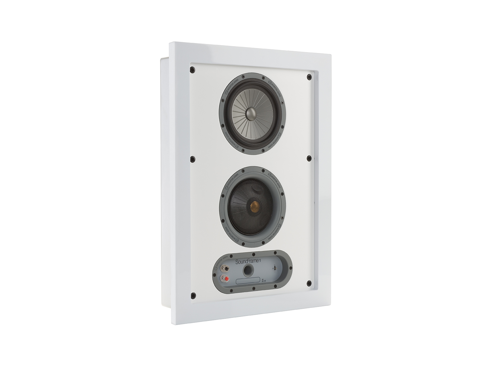 SoundFrame SF1, in-wall speakers, grille-less, with a high gloss white lacquer finish.
