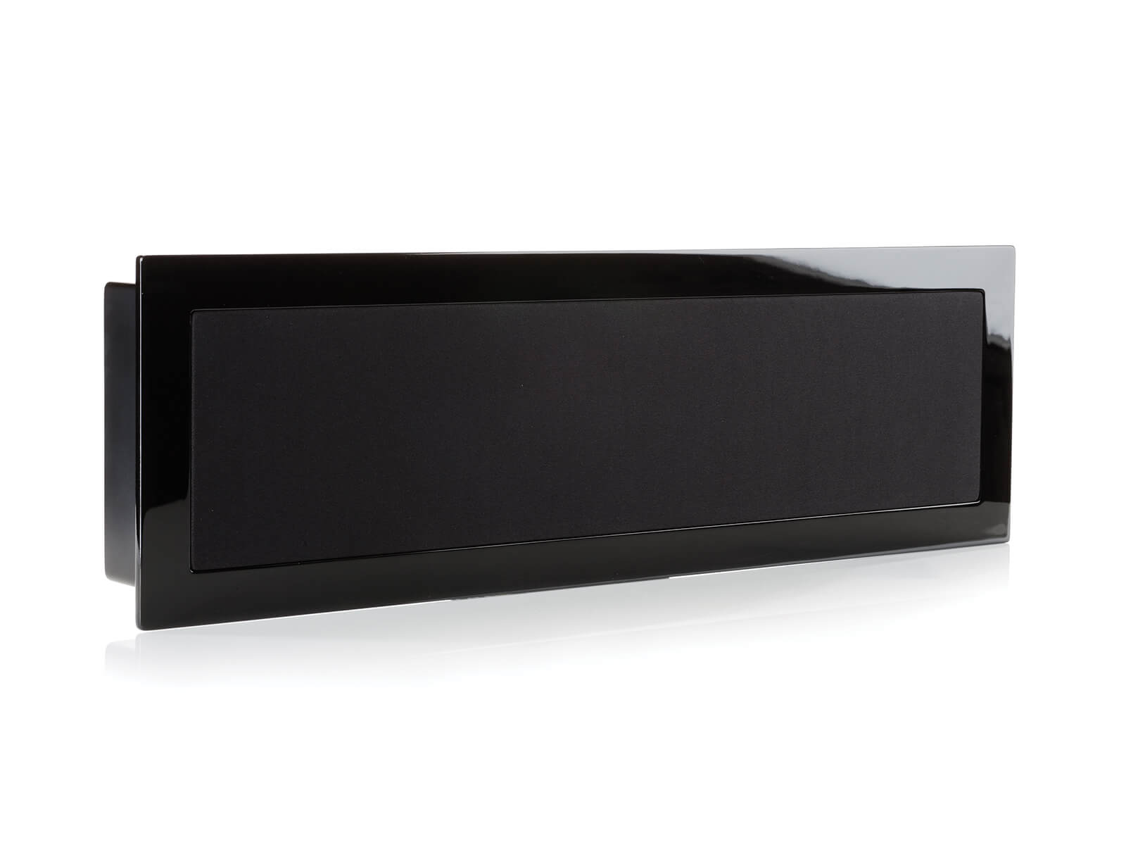 SoundFrame SF1, on-wall speakers, horizontal with a high gloss black lacquer finish.