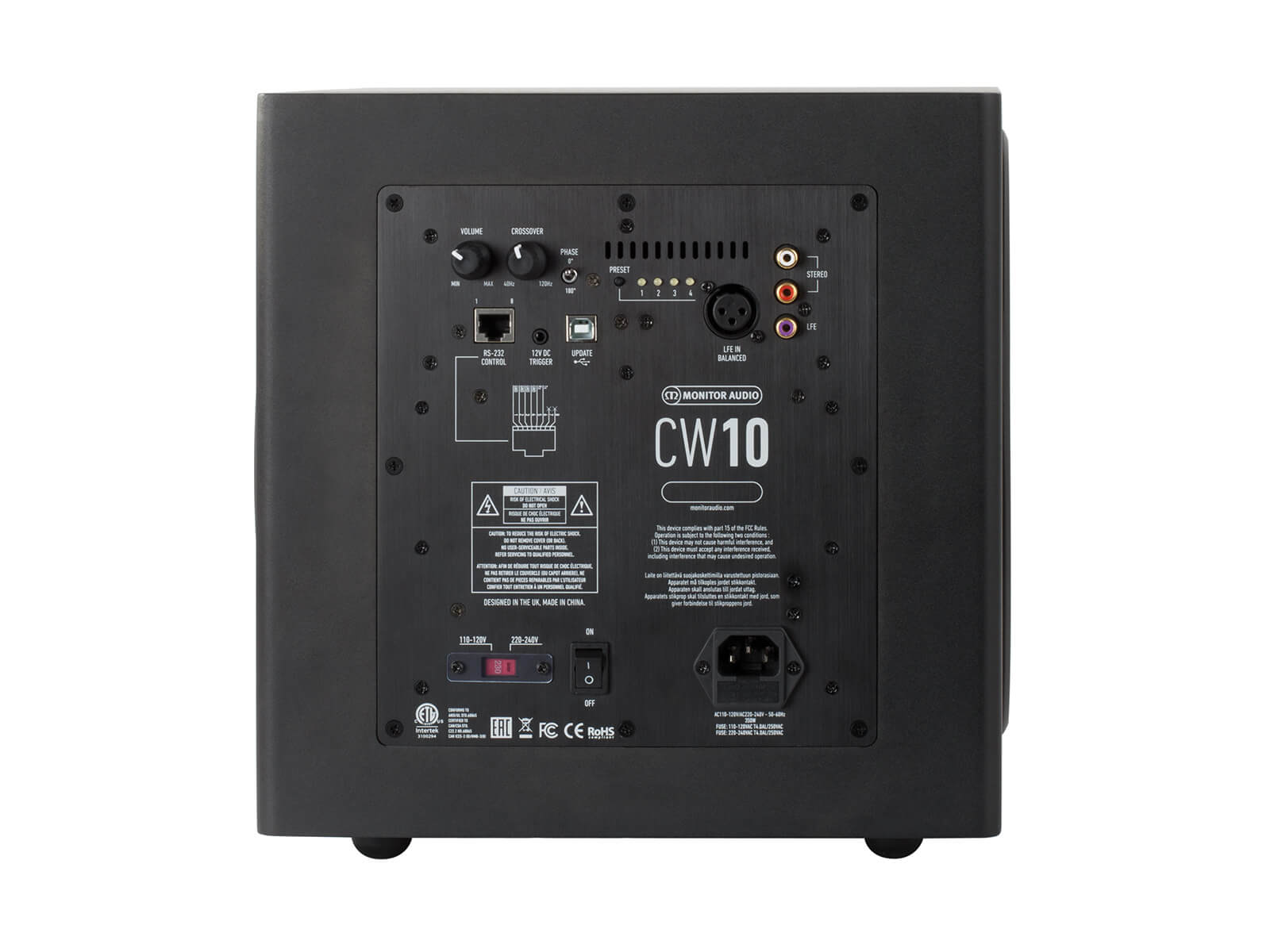 CW10 compact subwoofer, rear view.