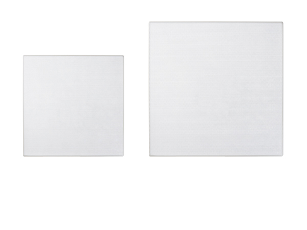 Square wall and ceiling speaker grilles in various sizes.